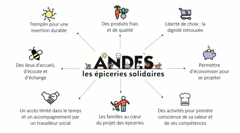 Schéma récapitulatif des actions de l'ANDES vis à vis des épiceries solidaires