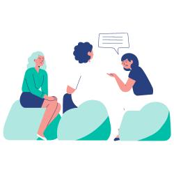 Epireuil - ateliers de proximité - 3 femmes assises discutant sur un pouf